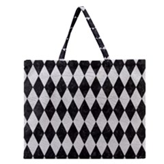 Diamond1 Black Marble & White Leather Zipper Large Tote Bag by trendistuff