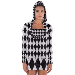 Diamond1 Black Marble & White Leather Long Sleeve Hooded T Shirt by trendistuff