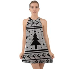 Ugly Christmas Sweater Halter Tie Back Chiffon Dress