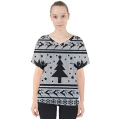 Ugly Christmas Sweater V Neck Dolman Drape Top by Valentinaart