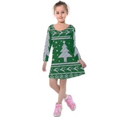Ugly Christmas Sweater Kids  Long Sleeve Velvet Dress by Valentinaart