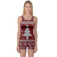 Ugly Christmas Sweater One Piece Boyleg Swimsuit by Valentinaart