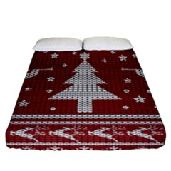 Ugly Christmas Sweater Fitted Sheet (queen Size) by Valentinaart