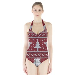 Ugly Christmas Sweater Halter Swimsuit by Valentinaart