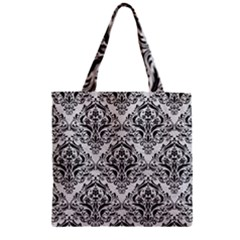 Damask1 Black Marble & White Leather Zipper Grocery Tote Bag by trendistuff