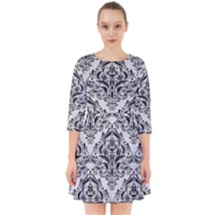 Damask1 Black Marble & White Leather Smock Dress