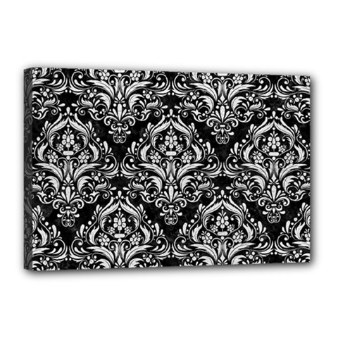 Damask1 Black Marble & White Leather (r) Canvas 18  X 12  by trendistuff