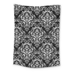 Damask1 Black Marble & White Leather (r) Medium Tapestry by trendistuff