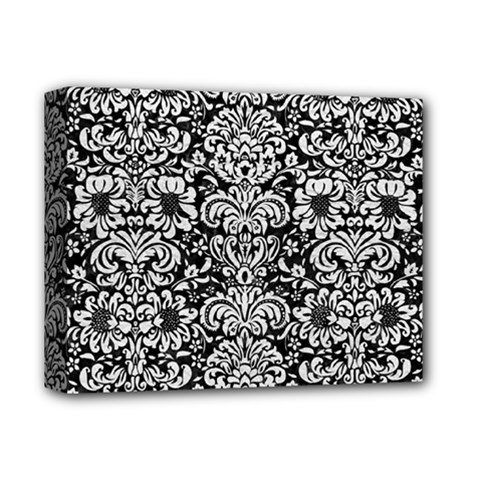 Damask2 Black Marble & White Leather (r) Deluxe Canvas 14  X 11  by trendistuff