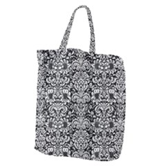 Damask2 Black Marble & White Leather (r) Giant Grocery Zipper Tote by trendistuff