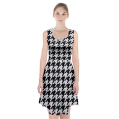 Houndstooth1 Black Marble & White Leather Racerback Midi Dress by trendistuff