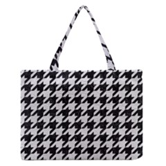 Houndstooth1 Black Marble & White Leather Zipper Medium Tote Bag by trendistuff