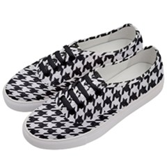 Houndstooth1 Black Marble & White Leather Women s Classic Low Top Sneakers by trendistuff