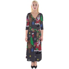 Ugly Christmas Sweater Quarter Sleeve Wrap Maxi Dress by Valentinaart