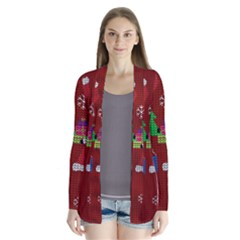 Ugly Christmas Sweater Drape Collar Cardigan