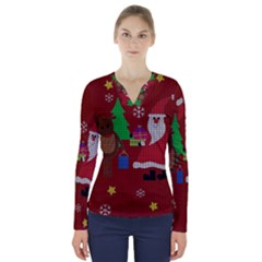 Ugly Christmas Sweater V-neck Long Sleeve Top by Valentinaart