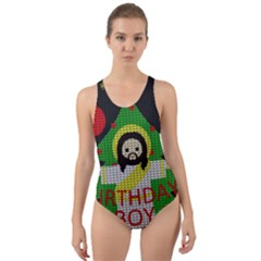 Jesus - Christmas Cut-out Back One Piece Swimsuit