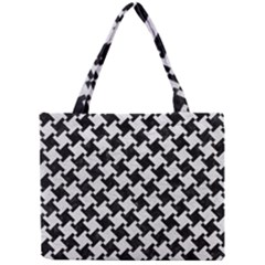 Houndstooth2 Black Marble & White Leather Mini Tote Bag by trendistuff