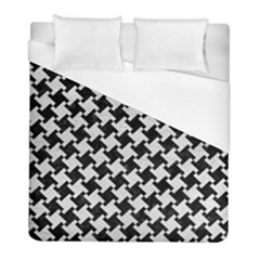 Houndstooth2 Black Marble & White Leather Duvet Cover (full/ Double Size) by trendistuff