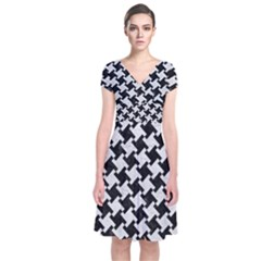 Houndstooth2 Black Marble & White Leather Short Sleeve Front Wrap Dress