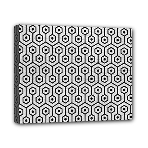 Hexagon1 Black Marble & White Leather Canvas 10  X 8  by trendistuff