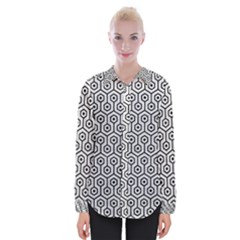Hexagon1 Black Marble & White Leather Womens Long Sleeve Shirt