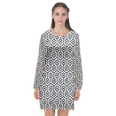 Hexagon1 Black Marble & White Leather Long Sleeve Chiffon Shift Dress