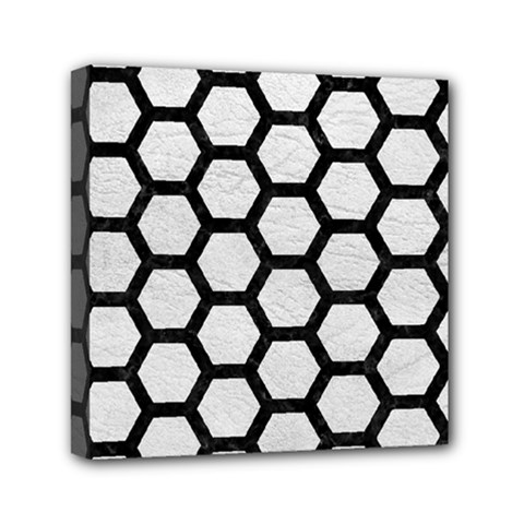 Hexagon2 Black Marble & White Leather Mini Canvas 6  X 6  by trendistuff