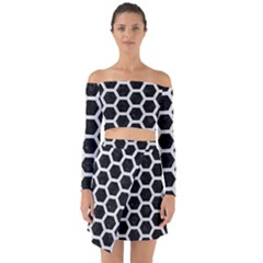 Hexagon2 Black Marble & White Leather (r) Off Shoulder Top With Skirt Set
