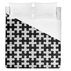 Puzzle1 Black Marble & White Leather Duvet Cover (queen Size) by trendistuff