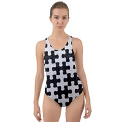 Puzzle1 Black Marble & White Leather Cut Out Back One Piece Swimsuit