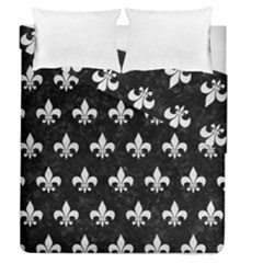 Royal1 Black Marble & White Leather Duvet Cover Double Side (queen Size) by trendistuff