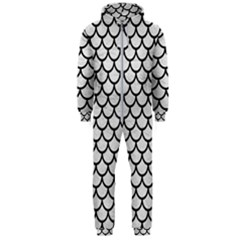 Scales1 Black Marble & White Leather Hooded Jumpsuit (men)  by trendistuff