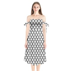 Scales1 Black Marble & White Leather Shoulder Tie Bardot Midi Dress by trendistuff