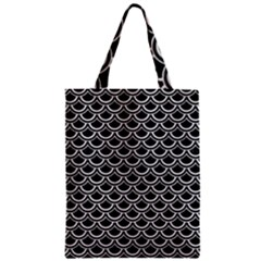 Scales2 Black Marble & White Leather (r) Zipper Classic Tote Bag by trendistuff