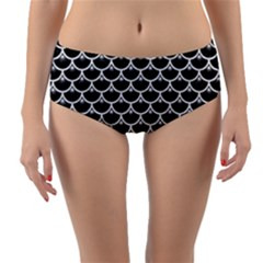 Scales3 Black Marble & White Leather (r) Reversible Mid Waist Bikini Bottoms