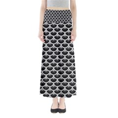 Scales3 Black Marble & White Leather (r) Full Length Maxi Skirt by trendistuff