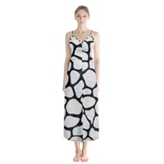 Skin1 Black Marble & White Leather (r) Button Up Chiffon Maxi Dress by trendistuff