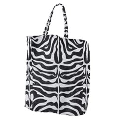 Skin2 Black Marble & White Leather (r) Giant Grocery Zipper Tote by trendistuff
