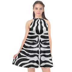 Skin2 Black Marble & White Leather (r) Halter Neckline Chiffon Dress