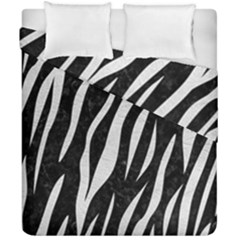 Skin3 Black Marble & White Leather (r) Duvet Cover Double Side (california King Size) by trendistuff