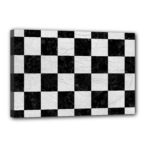 Square1 Black Marble & White Leather Canvas 18  X 12  by trendistuff