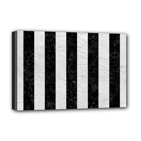 Stripes1 Black Marble & White Leather Deluxe Canvas 18  X 12   by trendistuff