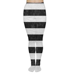 Stripes2 Black Marble & White Leather Women s Tights by trendistuff