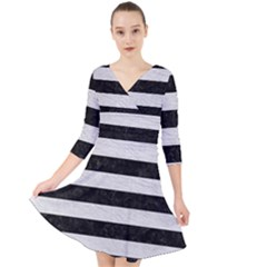 Stripes2 Black Marble & White Leather Quarter Sleeve Front Wrap Dress
