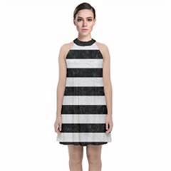 Stripes2 Black Marble & White Leather Velvet Halter Neckline Dress  by trendistuff