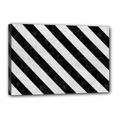 Stripes3 Black Marble & White Leather Canvas 18  X 12  by trendistuff