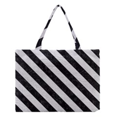 Stripes3 Black Marble & White Leather Medium Tote Bag by trendistuff