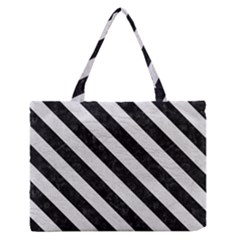 Stripes3 Black Marble & White Leather Zipper Medium Tote Bag by trendistuff