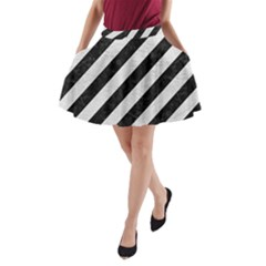 Stripes3 Black Marble & White Leather (r) A Line Pocket Skirt by trendistuff